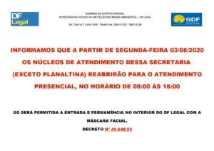 Banner Informativo Reabertura das NA Exceto Planaltina 300x212 - DF Legal: atendimento presencial retorna nesta segunda-feira (3)